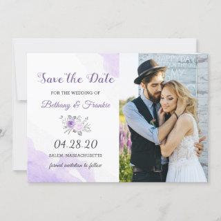 Elegant Pastel Purple Floral Save The Date Photo