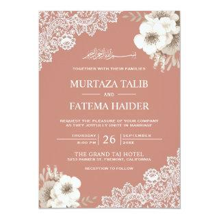 Elegant Peach Floral Lace Islamic Muslim Wedding Invitation