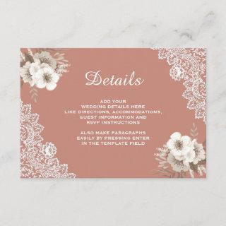 Elegant Peach Floral Lace Wedding Details Enclosure Card