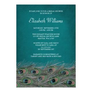 Elegant Peacock Feathers Bridal Shower Invitations