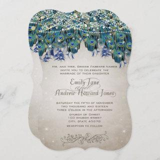 Elegant Peacock Feathers Teal Blue Green Turquoise Invitation