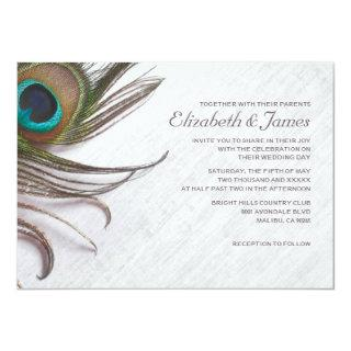 Elegant Peacock Feathers Wedding Invitations