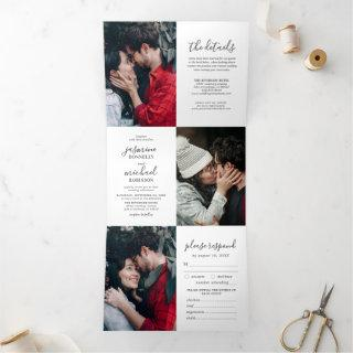 Elegant Photo Collage Wedding All In One Tri-Fold Invitations