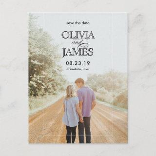 Elegant photo wedding save the date announcement postcard