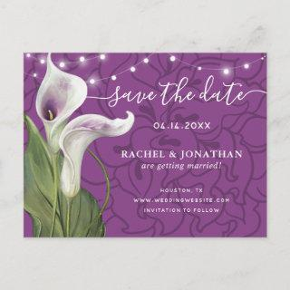 Elegant Picasso Calla Lily Floral Save the Date Announcement Postcard