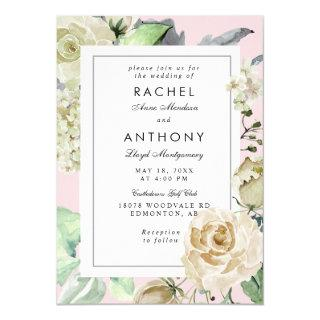 Elegant Pink Border Romantic Rose Bouquet Wedding Invitations