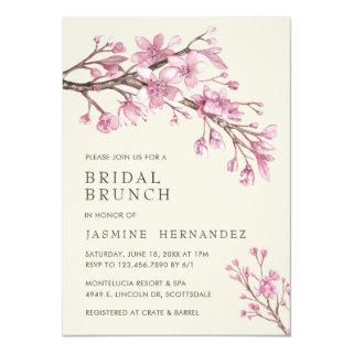 Elegant Pink Cherry Blossom Bridal Brunch Invitations