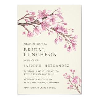 Elegant Pink Cherry Blossom Bridal Luncheon Invitations