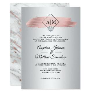 Elegant Pink Dusty Rose Gold Marble Silver Wedding Invitation