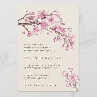 Elegant Pink Floral Cherry Blossom Wedding Invitations