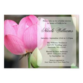Elegant Pink Lotus Flower Bridal Shower Invitations