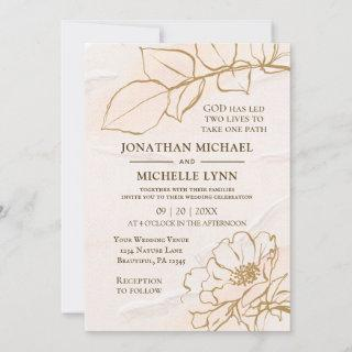 Elegant Pink Mustard Rose Leaves Christian Wedding Invitation