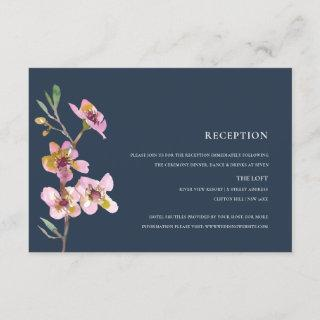 ELEGANT PINK NAVY CHERRY BLOSSOM FLORAL RECEPTION ENCLOSURE CARD