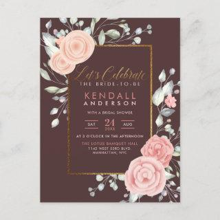 Elegant Pink Painted Flowers Floral Bridal Shower Invitation Postcard