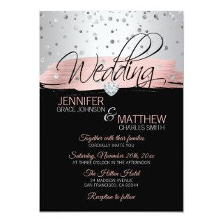 Elegant Pink Rose Gold Silver Black Wedding Invitations
