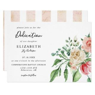 Elegant Pink Roses Watercolor Baby Dedication Invitation