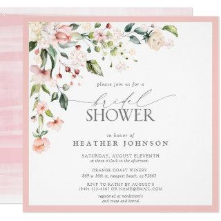 Elegant Pink Watercolor Floral Bridal Shower Invitations