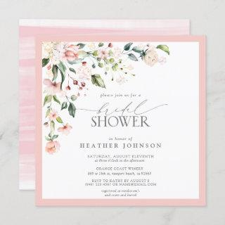 Elegant Pink Watercolor Floral Bridal Shower Invitation