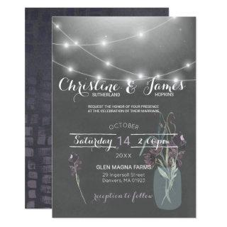 Elegant Plum, Lilac & Grey Wedding Invitation