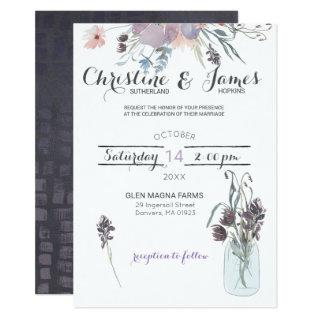 Elegant Plum, Lilac & Grey Wedding Invitations