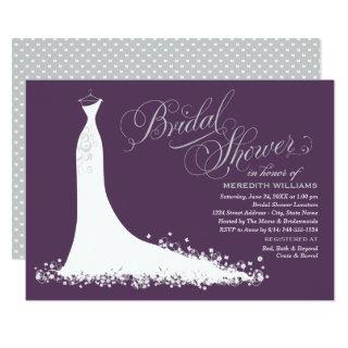 Elegant Plum Silver Wedding Gown Bridal Shower Invitations