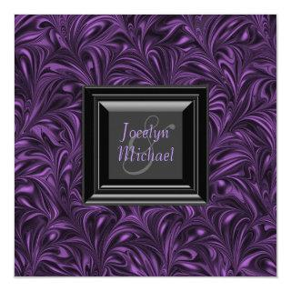 Elegant Purple and Black Wedding Invitations