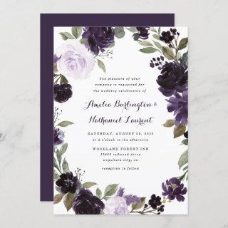 Elegant Purple and Gold Green Leaf Floral Wedding Invitations