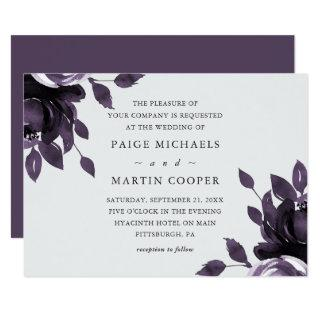 Elegant Purple and Gray Floral Wedding Invitations