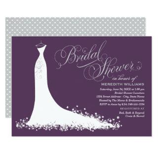 Elegant Purple and Gray Gown | Bridal Shower Invitations