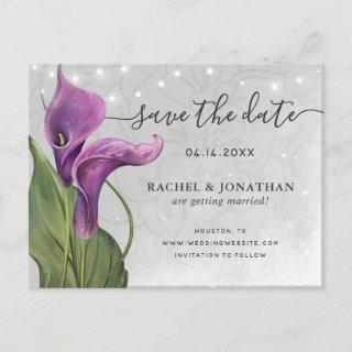 Elegant Purple Calla Lily Floral Save the Date Announcement Postcard