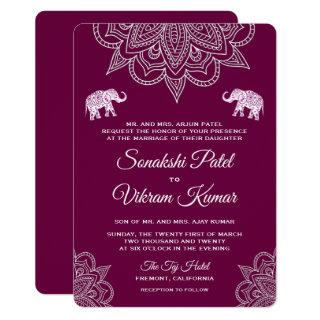 Elegant Purple Henna Indian Wedding Invitations