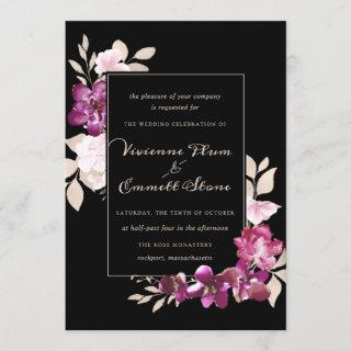 Elegant Purple Pink Floral on Black Wedding Invitations