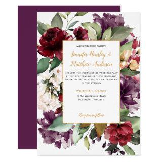 Elegant Purple Red Gold Floral Explosion Wedding Invitations