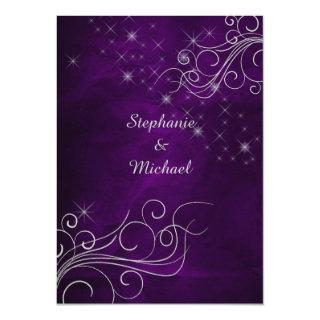 Elegant Purple Silver Star Swirl Wedding Invitations