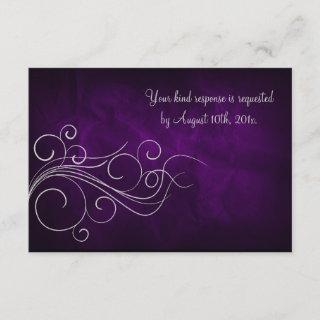 Elegant Purple Silver Wedding RSVP Card