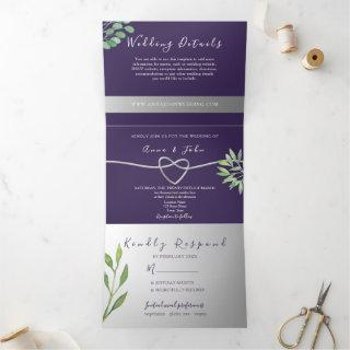 Elegant Purple Wedding Tri-Fold Invitation