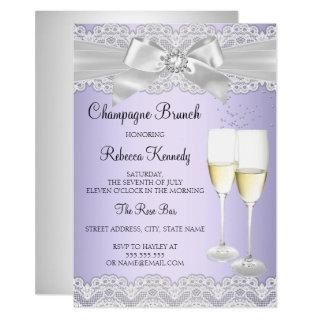 Elegant Purple White Lace Champagne Brunch Invite