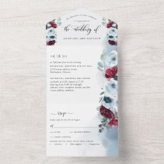 Elegant Red and Blue Wedding with Perforated RSVP All In One Invitation