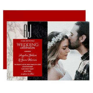 Elegant Red Black and White Marble Wedding Photo Invitations