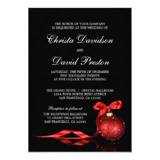 Elegant Red Christmas Wedding Invitations Template