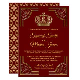 Elegant Red Gold Ornate Crown Wedding Invitations