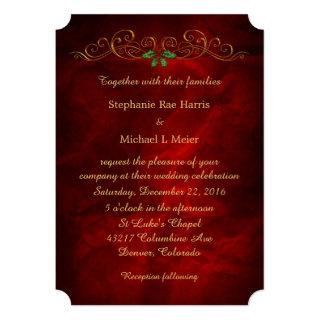 Elegant Red Holly Christmas Wedding Invitations