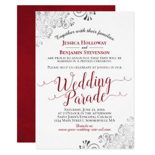 Elegant Red & Lacy Silver Wedding Parade Invitations