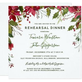 Elegant Red Poinsettia Christmas Reheasal Dinner Invitations