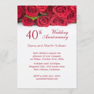 Elegant red rose 40th Wedding Anniversary Invitation
