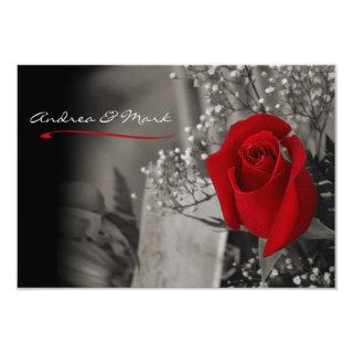 Elegant Red Rose Black and White Wedding Invitations