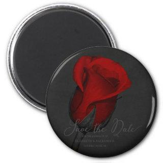 Elegant Red Rose Floral Save The Date Magnet