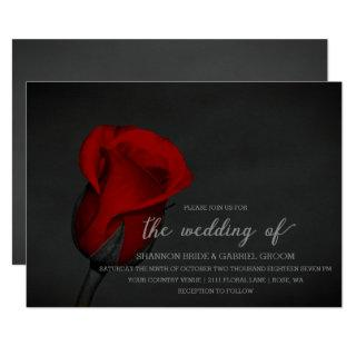Elegant Red Rose Floral Wedding Invitations