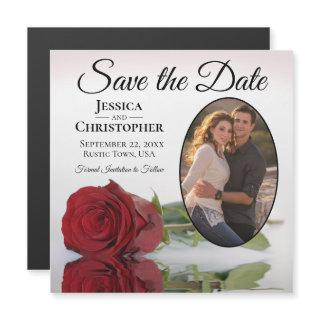 Elegant Red Rose Wedding Save The Date Photo Magne Magnetic