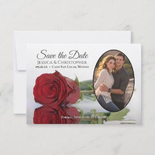 Elegant Red Rose with Oval Photo Wedding Save The Date